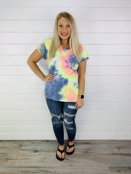 PLUS/REG Navy, Pink, and Yellow Tie Dye Pocket Tee