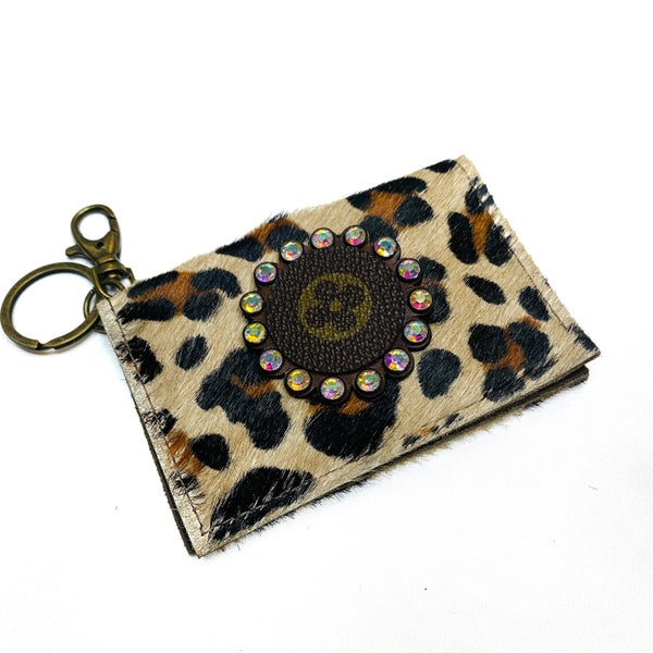 Authentic Upcycled LV Leopard Credit Case With Iridescent Rhinestones