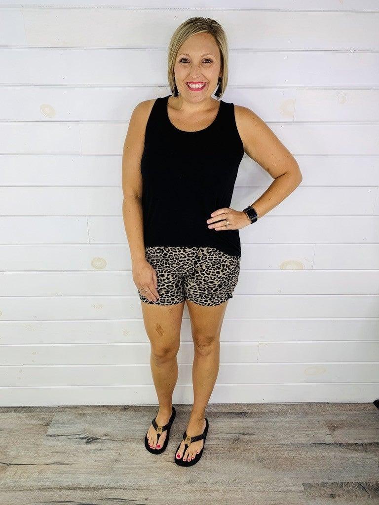 PLUS/REG Leopard Print Harem Shorts