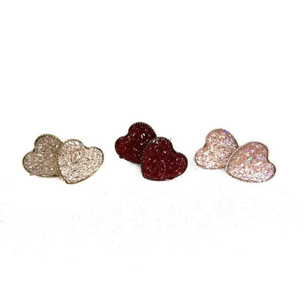 Glitter Heart Stud Earrings