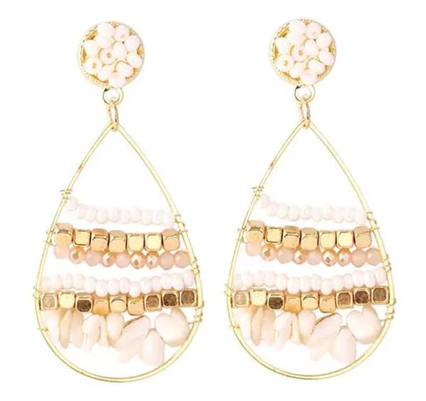 Ivory Beaded Gold Hoop Earrings