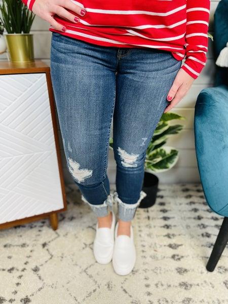 Judy Blue Dark Wash Mega Stretchy Cuffed Skinny Jeans
