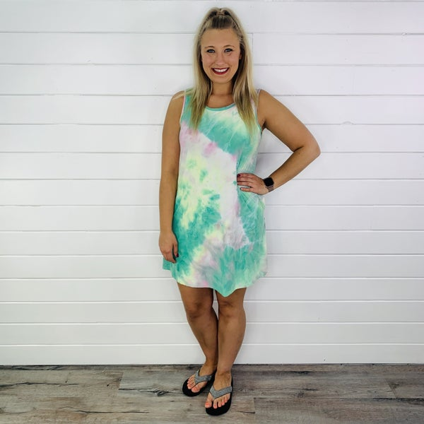 PLUS/REG HoneyMe Mint Tie Dye Sleeveless Dress