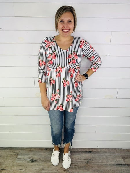 PLUS/REG HoneyMe Striped and Floral Top