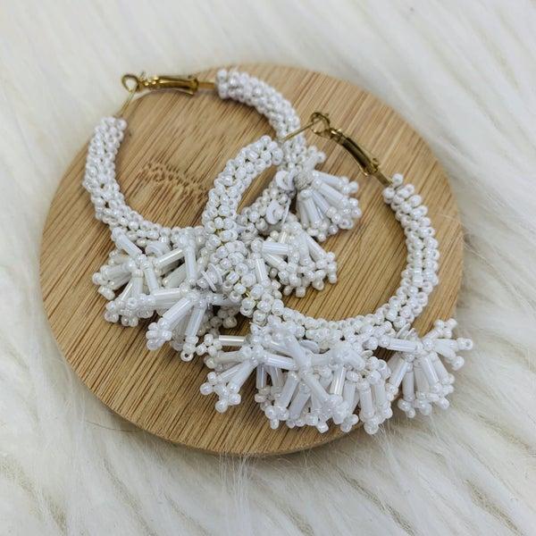 White Seed Bead Dangle Hoop Earrings