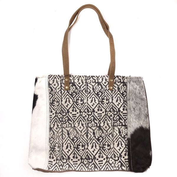 Myra Bag Pattern Mix Fur Side Tote