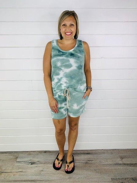 PLUS/REG Sage Tie Dye Knit Lounge Shorts
