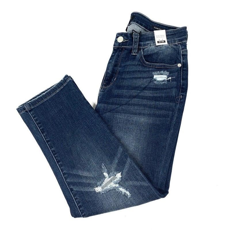 Plus/Reg Judy Blue Distressed Capri Jeans