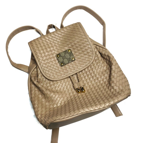 Authentic Upcycled Gucci Tan Woven Backpack