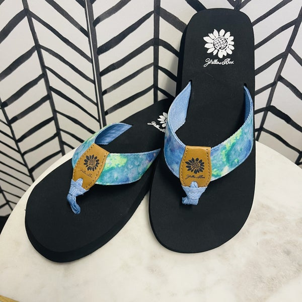 Yellowbox Sea Glass Tie Dye Flip Flops
