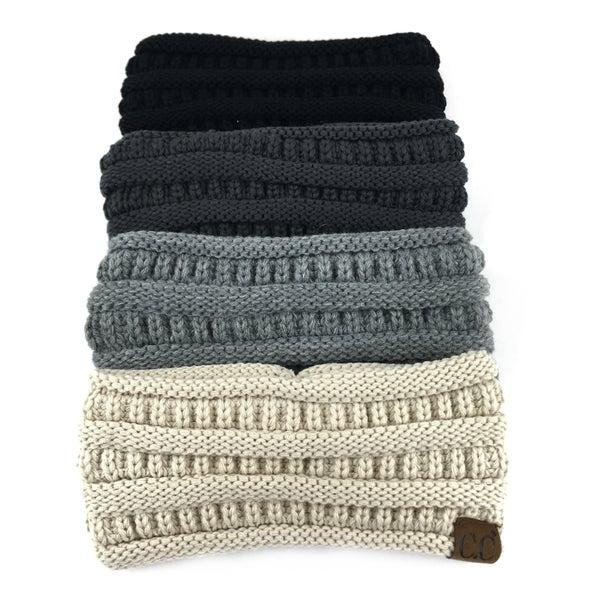 CC Beanie Solid Knit Pony Headband