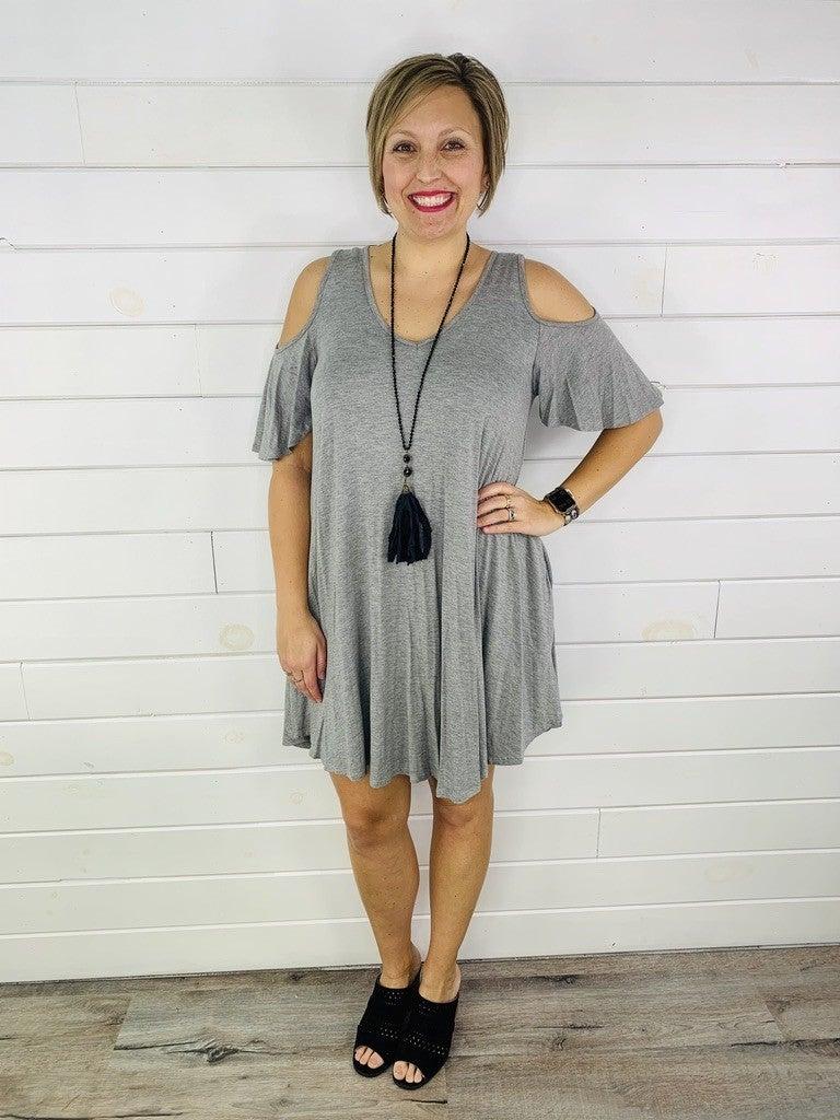 PLUS/REG Cold Shoulder Flowy Dress with Pockets