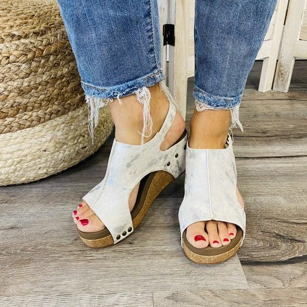 RESTOCK! Corkys Feeling Fine Ivory Metallic Wedge Sandals