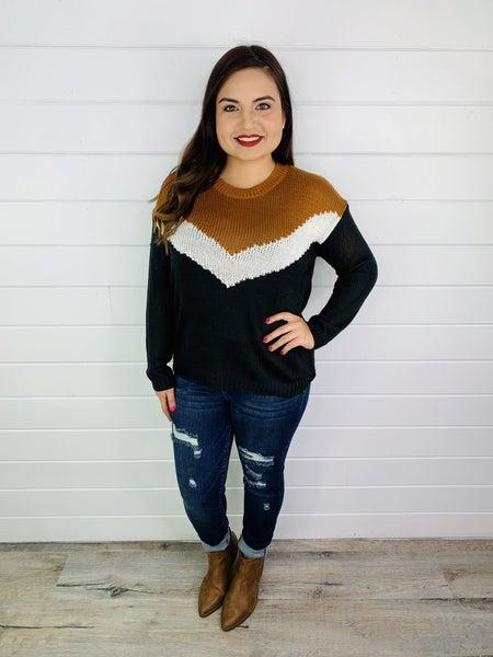 Plus/Reg Black, White, and Caramel Chevron Loose Knit Sweater