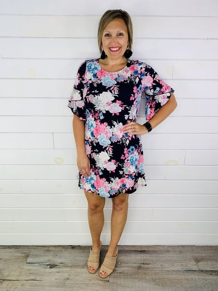Plus/Reg HoneyMe Navy Floral Dress with Flutter Sleeve