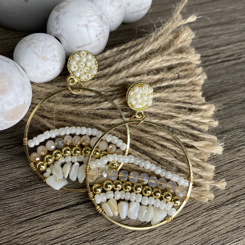 Ivory Round Beaded Earrings