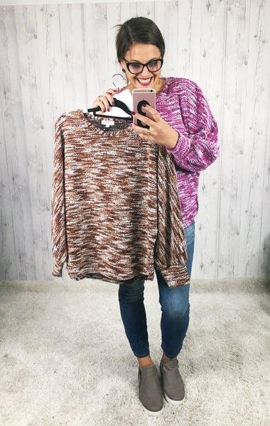 Plus/Reg Soft Balloon Sleeve Lightweight Heathered Sweater