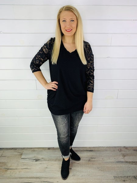 DOORBUSTER PLUS Swiss Dotted V Neck Tunic with Lace Sleeves