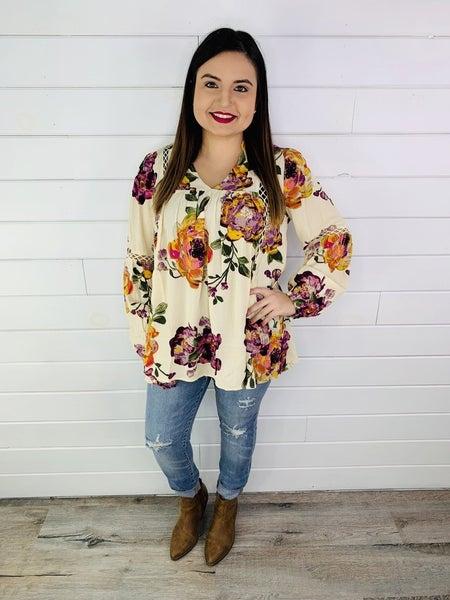 PLUS/REG Floral Print Swing Top