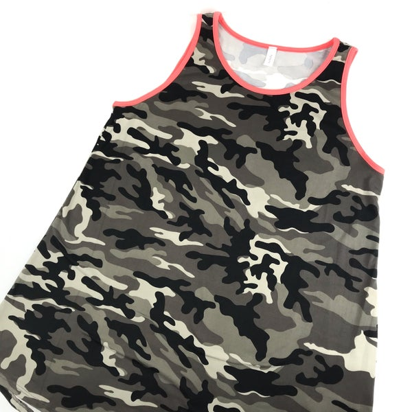 Camo Tank With Neon Pink Rimming