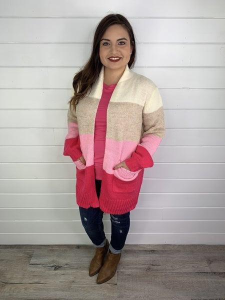PLUS/REG Pink and Cream Bubble Sleeve  Cardi