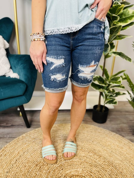 PLUS/REG Judy Blue Under the Boardwalk Bermuda Shorts