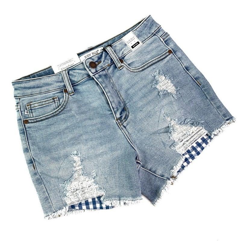 PLUS/REG Judy Blue Gingham Pocket Shorts
