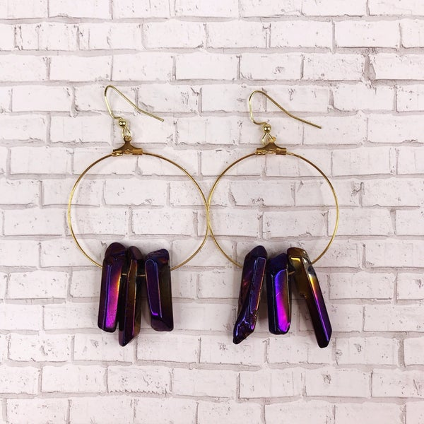 Custom MOCO Rainbow Crystal Stone Earrings