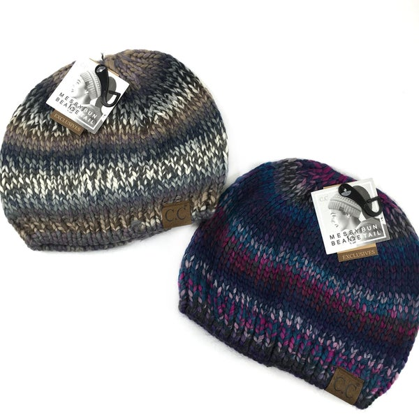 Multi Color Knit Beanie for Messy Buns!