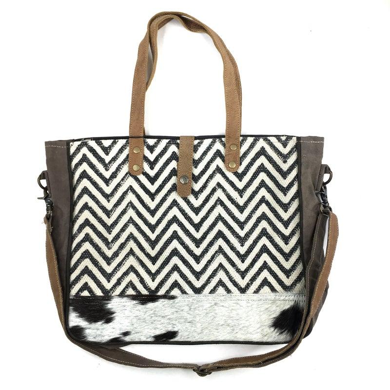 Myra Bag Chevron Weave Fur Bottom Messenger Bag