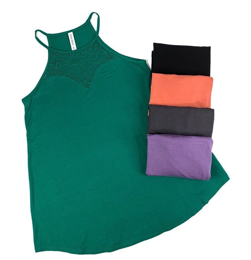 DOORBUSTER Strappy Halter Tank with Lace Neckline - 5 Colors!