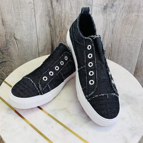 DOORBUSTER!!! Corky's Black Denim Sneakers