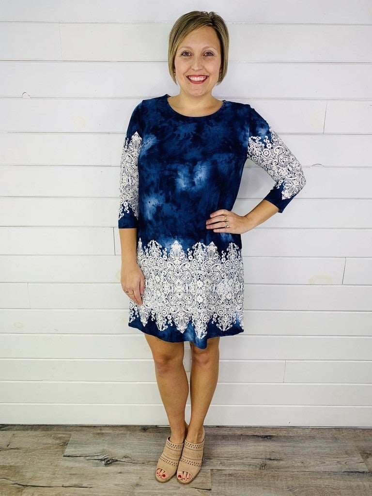 Plus/Reg HoneyMe Navy and Ivory Bulgari Print Dress