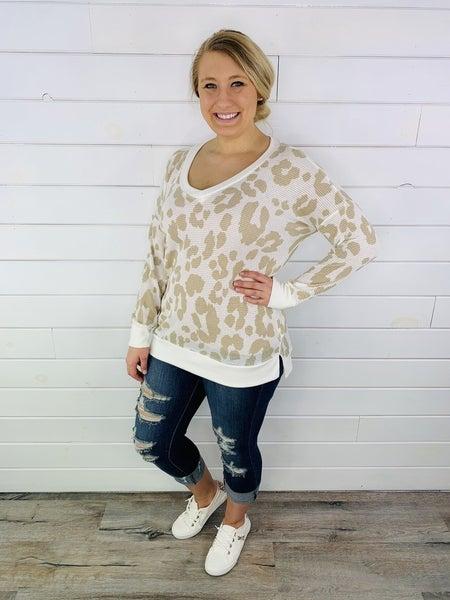 PLUS/REG HoneyMe Cream and Tan Cheetah Print Weekender 2.0
