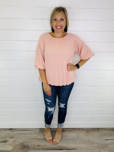 PLUS/REG Pleating For Your Love Top