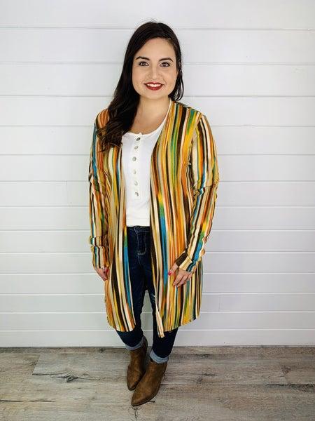 PLUS/REG Fall Toned Striped Cardigan