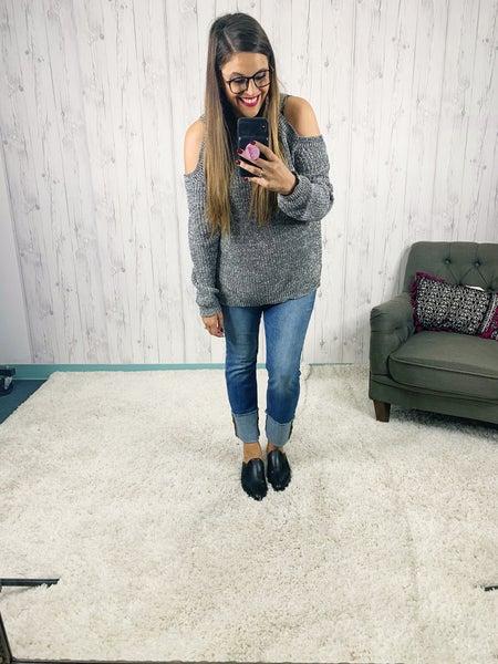 Plus/Reg Black and Grey Cold Shoulder Sweater