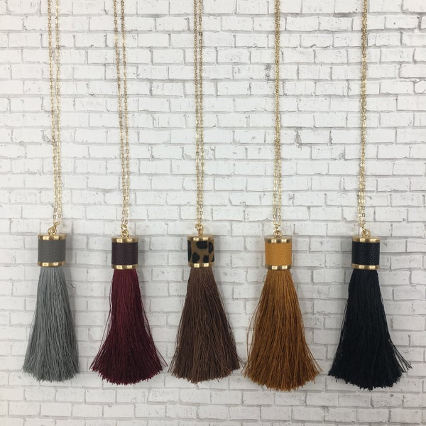 Leather Tassel Drop Necklace