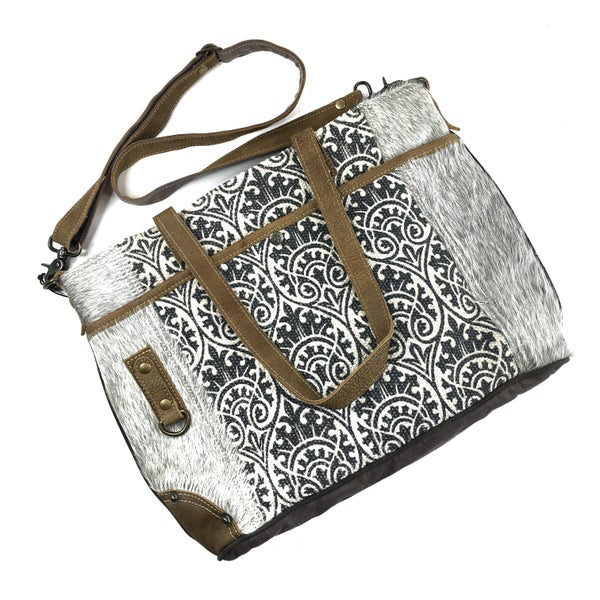 Myra Bag Messenger Tote with Fur Trim