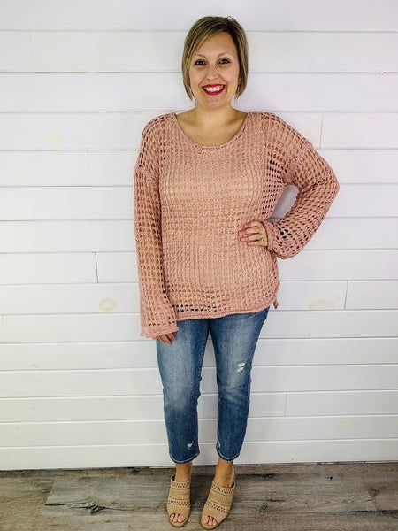 POL Crochet Knit Holey Sweater with Bell Sleeves - 3 Colors!