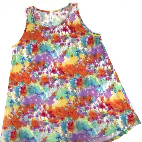 Rainbow Watercolor Tie Dye Flowy Tank