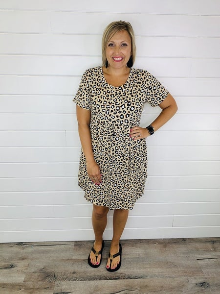 PLUS/REG Leopard Babydoll Dress