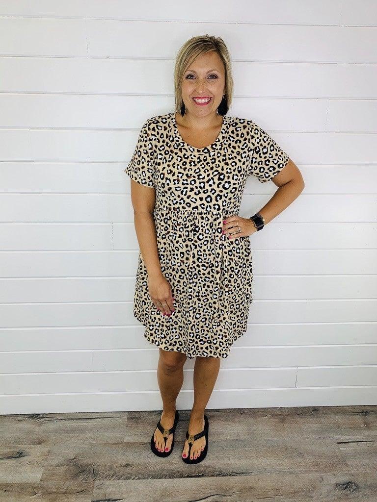 PLUS/REG Leopard Babydoll Dress