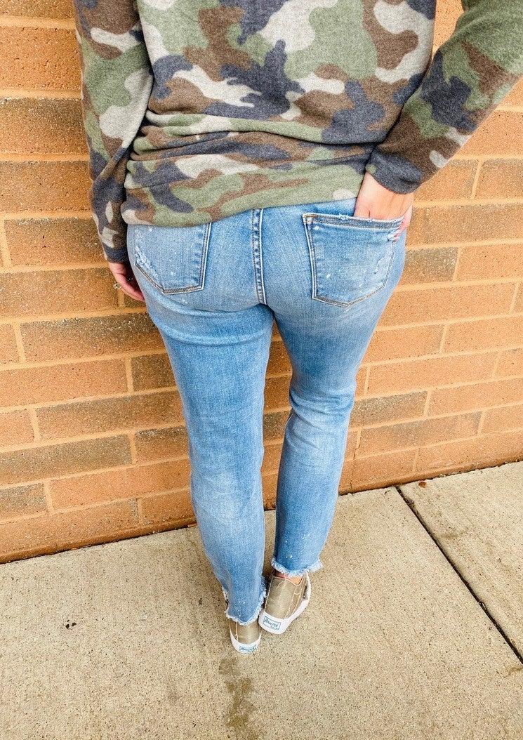 Restock! Best Selling PLUS/REG Judy Blue Bye Bye Bleach Splattered Boyfriend Jeans