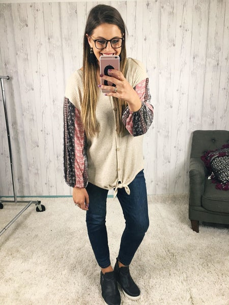 Plus/Reg  Boho Balloon Sleeve Top