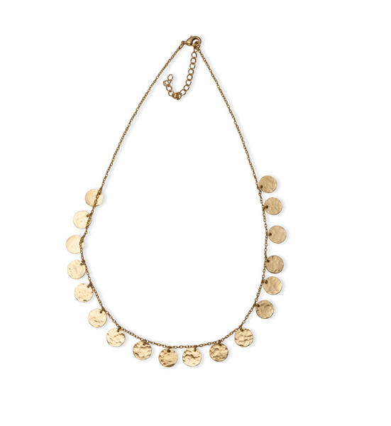 Myra Handcrafted Gold Necklace with Disc Coins