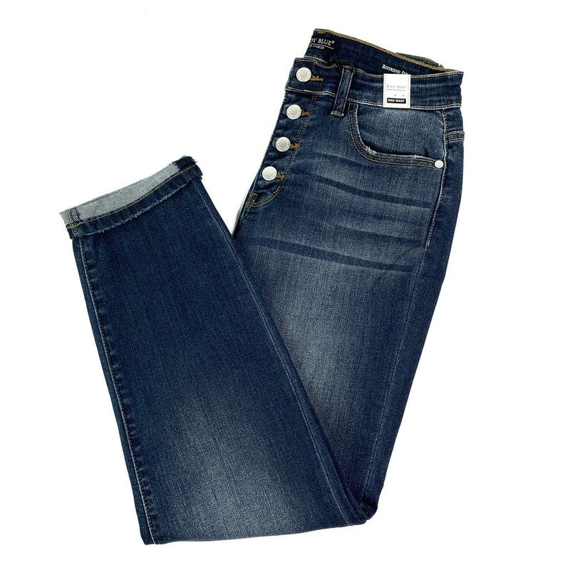 PLUS/REG Judy Blue Classy but Sassy Nondistressed Buttonfly Boyfriend Jeans