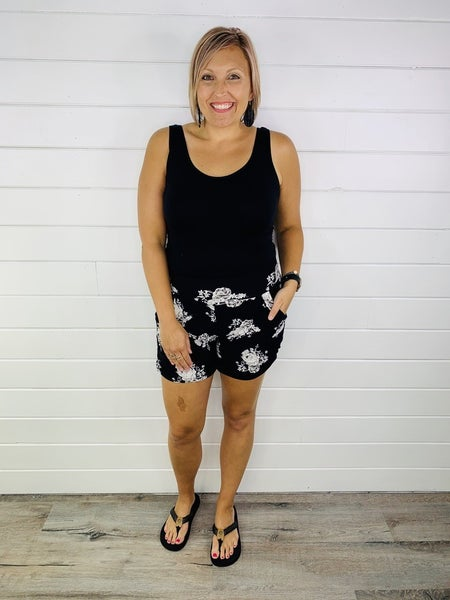 PLUS/REG Black and White Floral Harem Shorts
