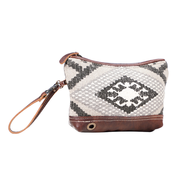 Myra Bag Black and Grey Print Wristlet