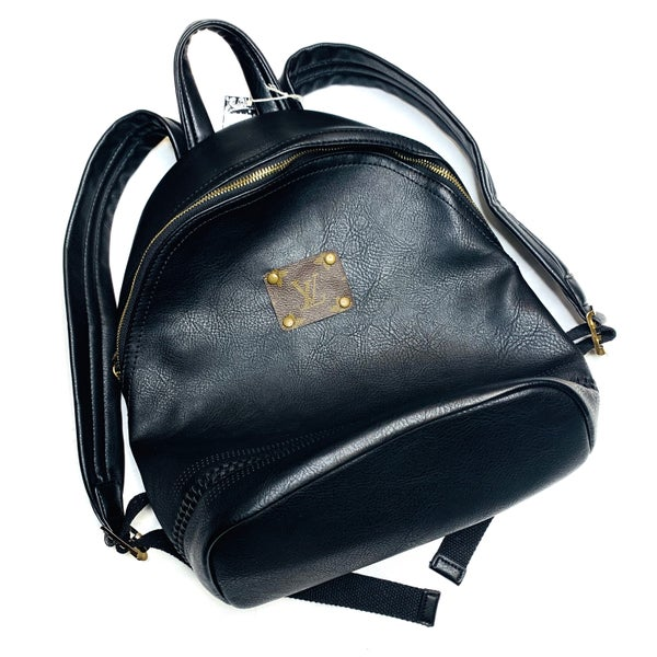 Authentic Upcycled LV Small Black Backpack With Coin Purse